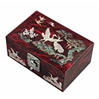 Mother of Pearl Birds Pine Tree Wood Blue Jewellery Trinket Keepsake Treasure Box Case Chest