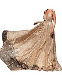 Riou Damen Brautkleider Hochzeitskleider Lang Sexy V-Ausschnitt Rückenfrei Spitzenkleid für Brautjungfer Hochzeit Abend Party Standesam Kleider