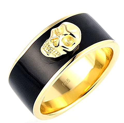 SaySure - Skull Ring for Men Women Black Gold Ring