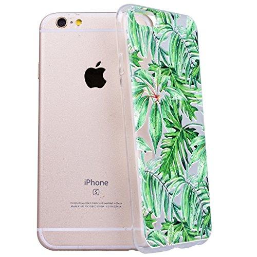 Yokata iPhone 6 Plus / iPhone 6s Plus Hülle Transparent Weich Silikon TPU Case Handyhülle Schutzhülle Durchsichtig Clear Backcover Bumper mit Lila Chinchilla Muster + 1 x Kapazitive Feder Bananenblätter