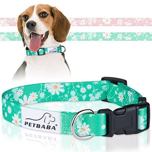 Hundehalsbänder, PETBABA Gänseblümchen Verstellbar Weich Hunde Halsbänder - S in Grün