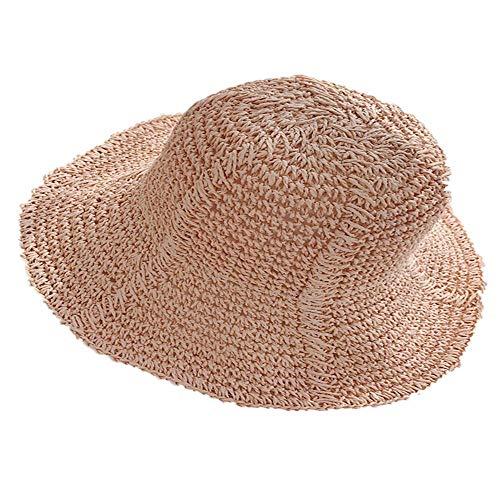 XinFeng Straw Hat Visor Female Summer Sun Hat Travel Holiday Seaside Beach Hat Folding Sun Hat Pink 56-59cm Green Velvet Top Hat