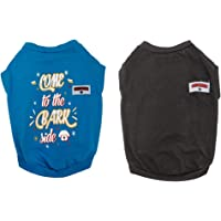 FETCHER Blue & Black Premium Dog T-Shirts (Set of 2)