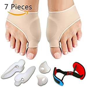 7PCS / SET Bunion Sleeves Hallux Valgus Corrector Ausrichtung Toe Separator Mittelfuß Splint Orthesen Schmerzlinderung Fußpflege Werkzeug