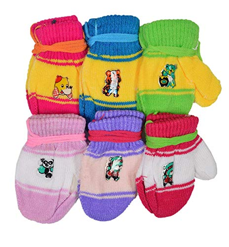 Shopcash Infant Woolen Wear Multicolor Mittens (6-12 months, Pack of 6)