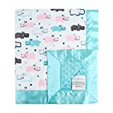 My Blankee Happy Hippo Blush Dotted Blankets, Topaz, 14'' x 17''