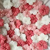 Divine Lights Floating Flower Candle- White, Pink And Pink-ish Red - Set Of 6- (1.5 X 1.5 X 0.5 Inches)- Valentine's Gift Candles