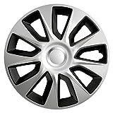 16 Zoll Bicolor Radzierblenden STRATOS DC (Silber mit Schwarz). Radkappen passend für fast alle OPEL wie z.B. Astra J