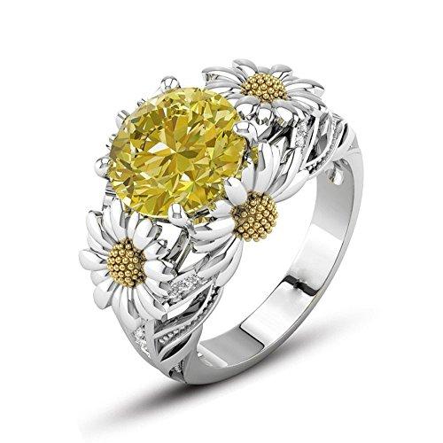 Europäischer und amerikanischer Mode Sonnenblume Diamant Ring YunYoud dünne bundesringe breite goldringe partnerschaftsringe stahlschmuck perlenring günstig modeschmuck stahlring