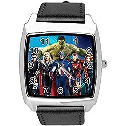 TAPORT® Reloj de Cuarzo Negro Banda de Cuero Cuadrado para Fan del Universo de Marvel
