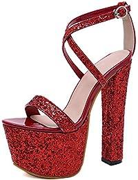 ef73033d Zapatos De Tacón Las Mujeres Europeas Y Americanas De Moda Artificial De La  PU 17.5 Cm Verano Pequeño Fresco Sexy Plataforma De Tacón…