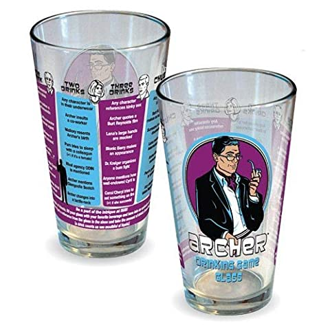 Icupicup Archer Drinking Game Pint Glass, 16 Oz