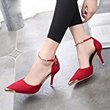 Sonnena Womens Ladies High Block Heel Cuff Ankle Strap Buckle Pointed Court Shoes Pumps Sandals