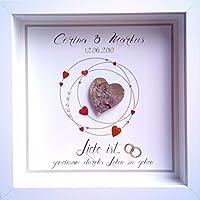 Individuelles Hochzeitsgeschenk, Bild, weißer Rahmen, Geschenk Brautpaar, personalisierbar mit Namen und Hochzeitsdatum, Geldgeschenk Hochzeit, Handmade, einzigartig, Unikat, Geldgeschenk