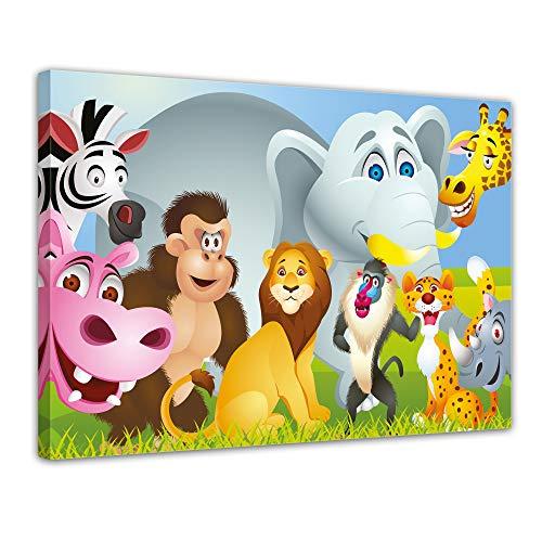 (Bilderdepot24 Kunstdruck - Kinderbild Tiere Cartoon IV - Bild auf Leinwand - 70x50 cm Einteilig - Leinwandbilder - Bilder als Leinwanddruck - Wandbild Kinder - fröhliche, Wilde Tiere)