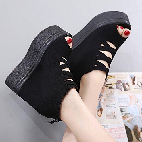 GTVERNH-la primavera 8.5cm scarpe nere high heeled cuneo sandali femmina muffin spesso fondo impermeabile sandali l'aumento della bocca di pesce scarpe,37 Thirty-six