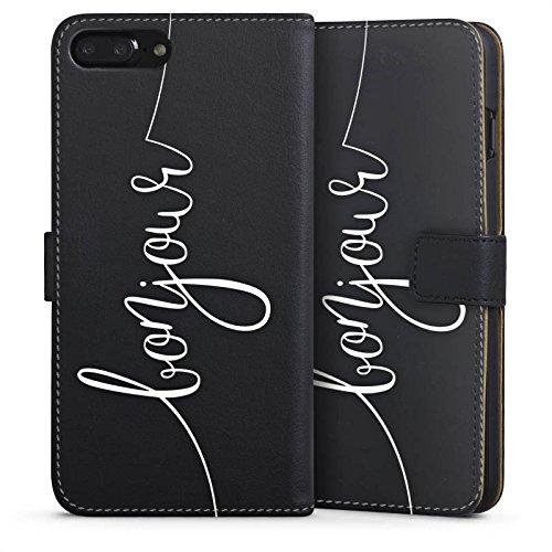 Apple iPhone 7 Silikon Hülle Case Schutzhülle Bonjour ohne Hintergrund Frankreich Sideflip Tasche schwarz