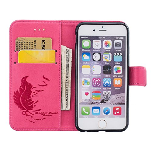 Coque Etui pour iPhone 6 6S, iPhone 6 6S Coque Dragonne Portefeuille PU Cuir Etui, iPhone 6 6S Coque de Protection en Cuir Folio Housse, iPhone 6 6S Leather Case Wallet Flip Protective Cover Protector Rose rose