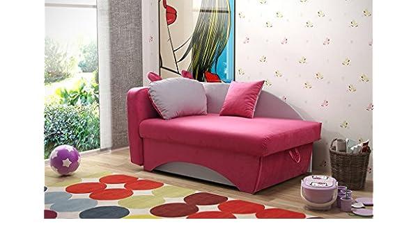 NILA Kinder Mädchen Pink Stoff Sofa Bett Couch Mit Kissen Aufbewahrung  Schlafbereich Kinder Jugend Schlafzimmer Möbel: Amazon.de: Küche U0026 Haushalt