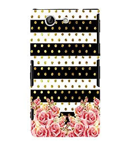 Fabcase pink roses golden buds dots patterns stripes sparkly Designer Back Case Cover for Sony Xperia Z4 Compact :: Sony Xperia Z4 Mini