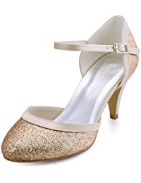 ElegantPark HC1510 Women's Kitten Heels Closed Toe Mary Jane Glitter PU Prom Evening Party Shoes