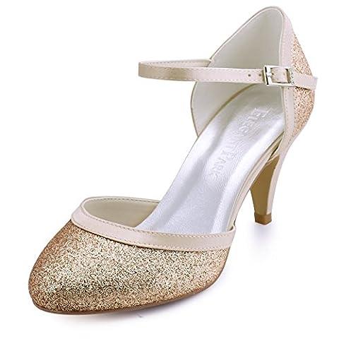 ElegantPark HC1510 Femme Escarpins Brillant bride cheville Fermé Toe Glitter PU Chaussures de Bal Soiree Gold EU 38