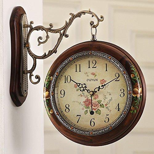 SSBY Disattivare i due a doppia faccia orologio da parete antico legno massello di grandi dimensioni tabella di clock giardino soggiorno idee orologi personalizzati,un