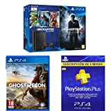 PlayStation 4 Slim (PS4) 1TB - Consola + Uncharted Collection + Uncharted 4 + Ghost Recon Wildlands + PSN Plus Tarjeta 90 Días