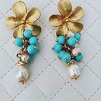 Orecchini artigianali con fiore in zama pietre di turchese e perle barocche