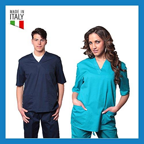Divisa ospedaliera in cotone 100% casacca + pantalone scollo a