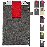 ebos Handytasche XL aus Filz ✓100% Wollfilz ✓ Schutzhülle für Handys XL, Smartphones XL | mit Klett-Verschluss | für Iphone 6/6s, Samsung Galaxy S4/S3, HTC One X/XL/X Plus, uvm. (Rot)
