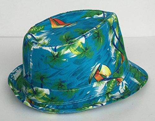 Bigood Unisexe Chapeau Jazz Bonnet Casquette Imprimé Paysage de Plage Vert