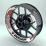 OneWheel Felgenrandaufkleber Motorrad 4er Komplett-Set (17 Zoll) - Felgen-Dekor Folie Ducati Hexagon (Rot - matt)