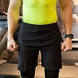 UrChoiceLtd® QiangXing - QX Mens SPORTS Compression Elite Fitness Thermique Fonctionnement GYM Sweat Shorts De Course Hommes - Sportif Des Biens Fonctionnement Équipement Des Sports Vêtements Santé Aptitude Crossfit Vêtements Pour Hommes (M, Noir)