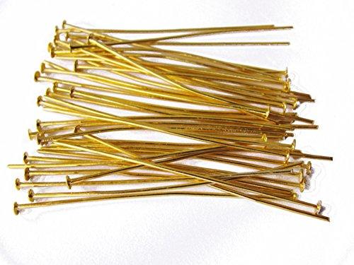 40 Kettelstifte, 50 mm, goldfarben Nietstifte, Prismenstifte, Schmuck mit Perlen basteln