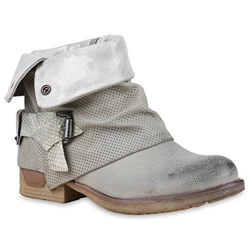 Stiefelparadies Damen Stiefeletten Biker Boots Schnallen Nieten Knöchelhohe Stiefel Leder-Optik Schuhe 129840 Hellgrau Autol 37 Flandell