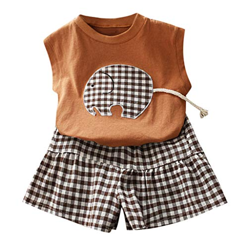 JERFER Baby Set Sommer Toddler Kid Girls Outfits Clothes Cute Vest Shirt+Plaid Bowknot Shorts Set