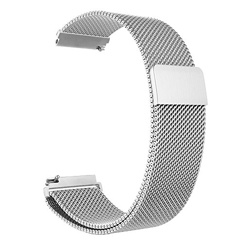 Aimtel Kompatibel Fossil Q Venture Armband, 18mm Milanese Loop Metall Edelstahlband Zubehör Strap Band Kompatibel Fossil Q Venture/Gen 4/Huawei TalkBand B4 Uhr(FO-Silber)