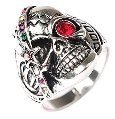 SaySure - Vintage One Red Eyes Color Ring Punk Antique Skull (SIZE : 9)