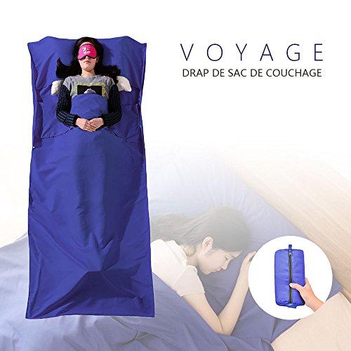Drap de Sac De couchage, Chenci Sac De Couchage Doublure, Microfibres Sac De Couchage Idéal Pour Auberges Refuges Voyage Hôtel Camping 210*115CM, Bleu