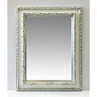 Specchio rettangolare con cornice lavorata gola bianca liscia e bordi lavorati in foglia argento,cm72x92