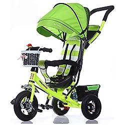SSLC Triciclo Plegable Bebe,Bicicleta Triciclo Bebe Evolutivo Bicicleta para Bebes Evolutivo Asiento Giratorio con Parasol y Putter 1-6 año Tricilo para Niños Plegable con Cubierta de Lluvia, Green