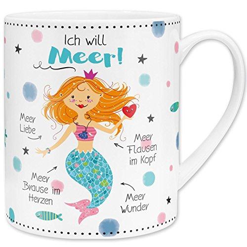 Gruss und Co 45646 XL Jumbo-Tasse mit Meerjungfrau, Fräulein Meer, Cappuccino-Tasse, Porzellan, 60 cl, mit Geschenk-Banderole