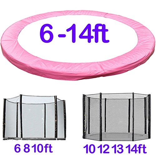 Greenbay Trampoline Replacement Spring Cover Padding Pad & Safety Net Enclosure Surround Bundle 12FT Pink