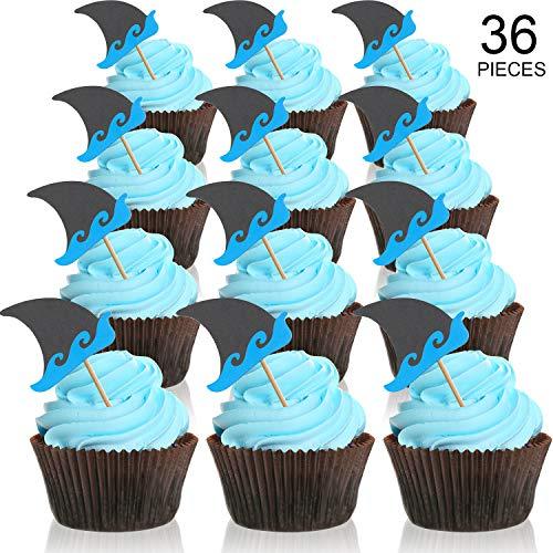 Chengu Graduierung Cupcake Toppers, 2019 Deckel Graduierung Picks für Mini Kuchen, Absolvent Essen und Vorspeise Dekoration (Haifisch-Form Topper Stil, 36 Stücke) (Toppers Shark Cupcake)