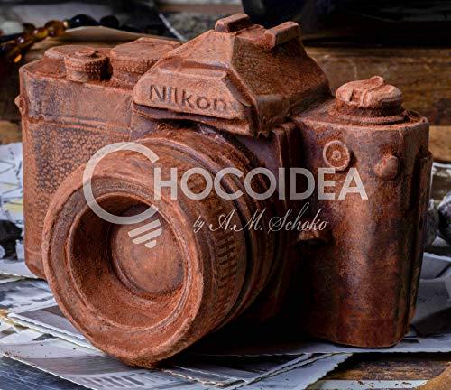 Fotoapparat gross/Camera BIG Handmade, 100% handgefertigt aus belgischer Zartbitter Schokolade Barry Callebaut (400g) 12,1 x 8,1 x 8,1cm