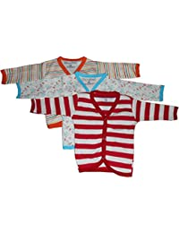 NammaBaby Cotton Front Open Full Sleeves vest- Tshirt -MULTI CUTE Set Of 3