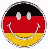 Aufnäher Bügelbild Aufbügler Iron on Patches Applikation Deutschland Smiley Gesicht