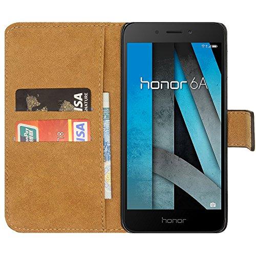 Ambaiyi Flip Echt Ledertasche Handyhülle Brieftasche Hülle Schutzhülle für Huawei Honor 6A , Schwarz