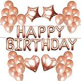 NORTHERN BROTHERS Geburtstag Dekoration - Geburtstagsdeko Happy Birthday Ballon,50 Stück 12 Rose Gold Luftballons, 2 St
